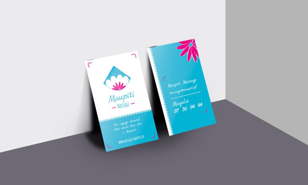 Conception d'une identité visuelle : la carte de visite de Maupiti Massage