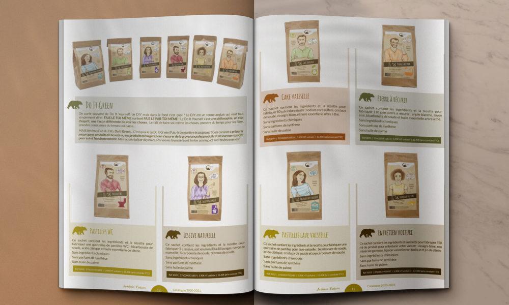 Création d'un catalogue A4 de 12 pages : double page intérieur