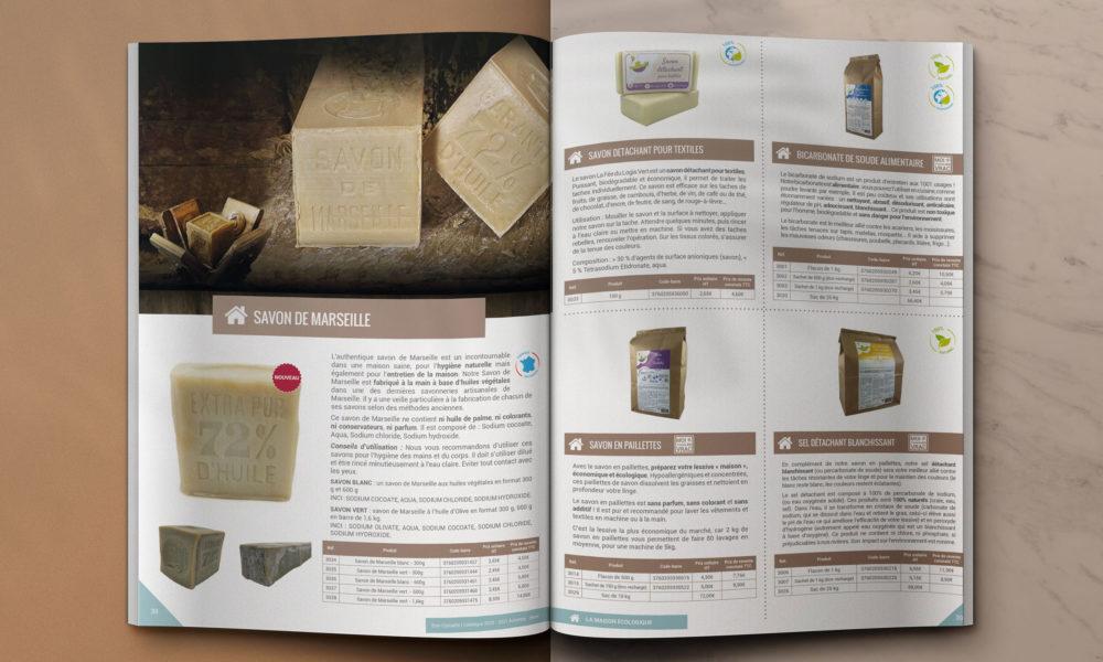 Création d'un catalogue 48 pages pour des produits naturels : mise en page intérieure