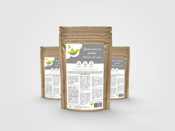 Conception d'une étiquette pour un savon noir en poudre